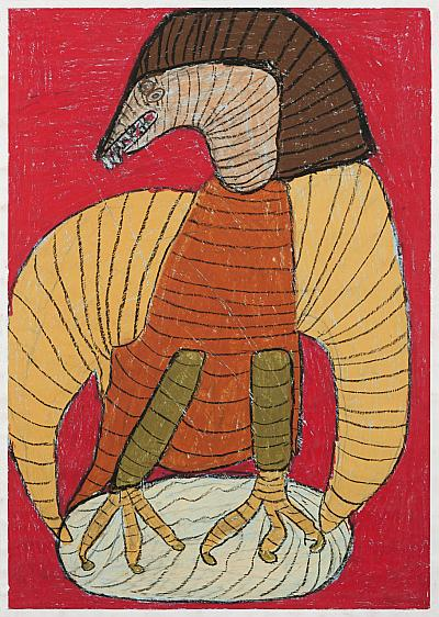 Malerei Adler auf rotem Grund.