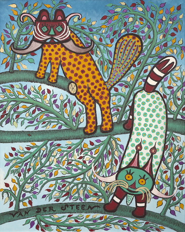 Zwei gemalte Katzen mit vielen Punkten in unterschidlichen Farben