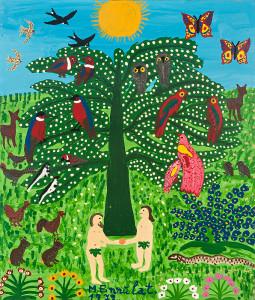 Gemälde: Baum der Erkenntnis im Paradiesgarten mit vielen Tieren und Adam und Eva