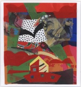 Collage in den Farbtönen rot, grün, blau