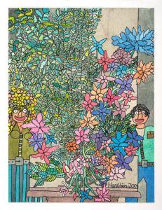 viele Blumen und Pflanzen. Links und rechts steht ein Mensch.
