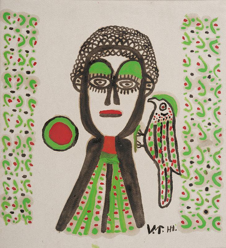 Malerei von Pellegrino Vignali. Mensch mit Vogel in grün-schwarz-rot gehalten.