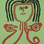 Malerei von Pellegrino Vignali Ein Mänchen mit braun-rotem Körper und schwarzen Haaren auf grünem Hintergrund.