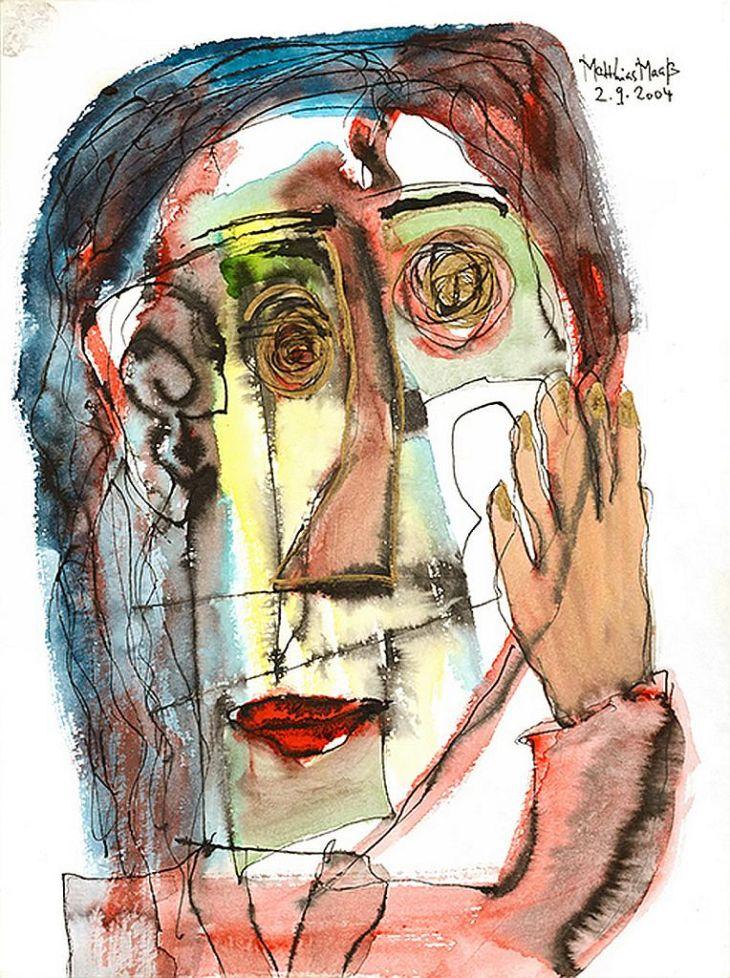 eine Malerei. Ein Gesicht ist zu erkennen.