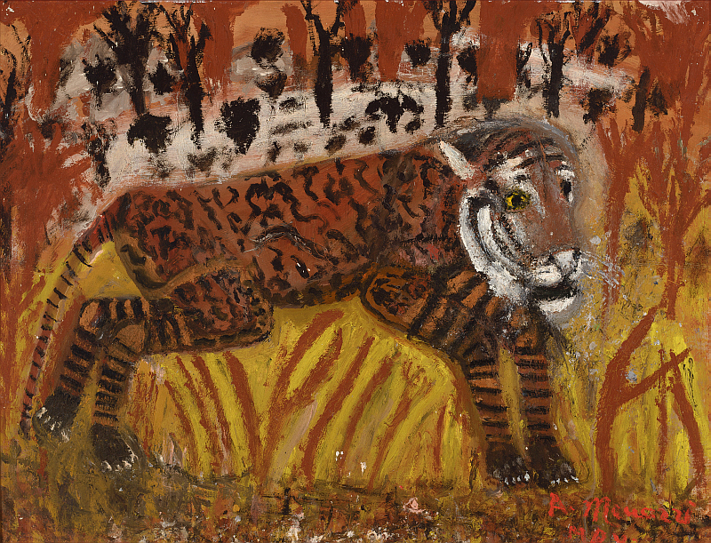 Ein Tiger in der Savanne