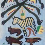 Schlangen kreuzen sich, ein Zebra und mehrere Bären oder Füchse/Wölfe sind zu sehen