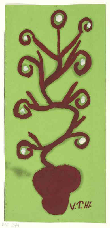Malerei einer braunen Pflanze mit Blüten auf grünem Hintergrund.