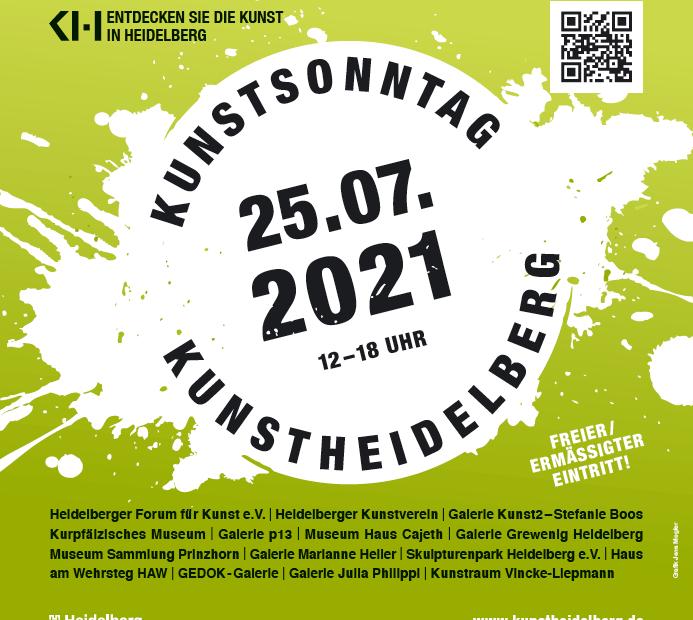 Eine Grafik in grün gehalten kündigt den Kunstsonntag Heidelberg, am 25.07.2021 an.