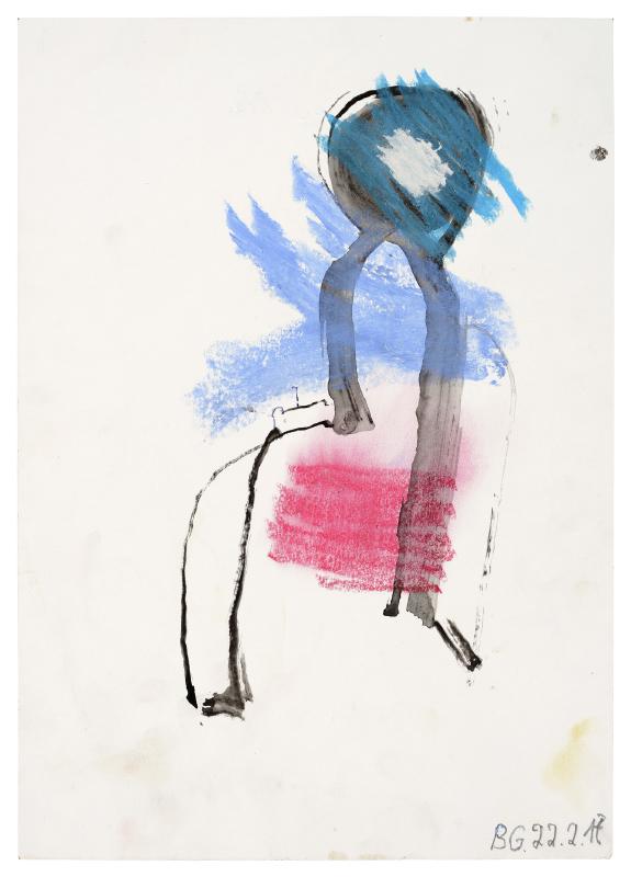 Zeichnung mit Blau- und Rottönen