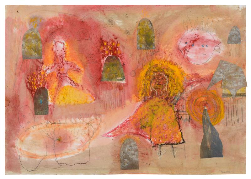 Zeichnung: In Rot- Orangetönen. Mehrere Personen.