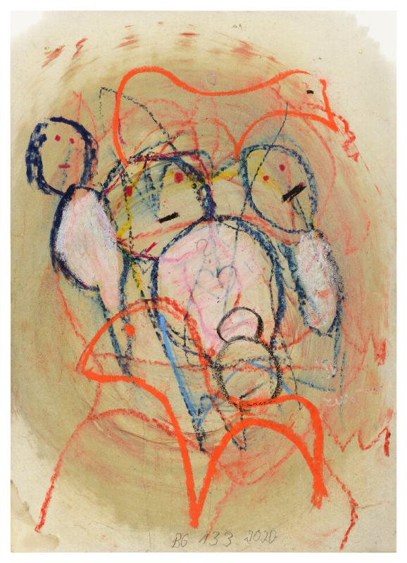 Zeichnung: Drei Personen und ein Kind. Zwei Tiere.