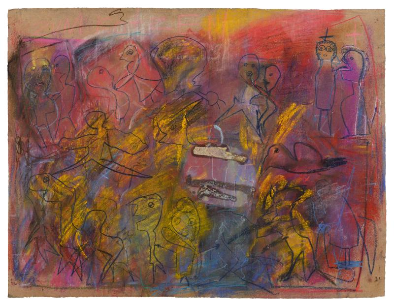 Zeichnung: Mehrere Personen. Rot, Gelb und Blautöne.