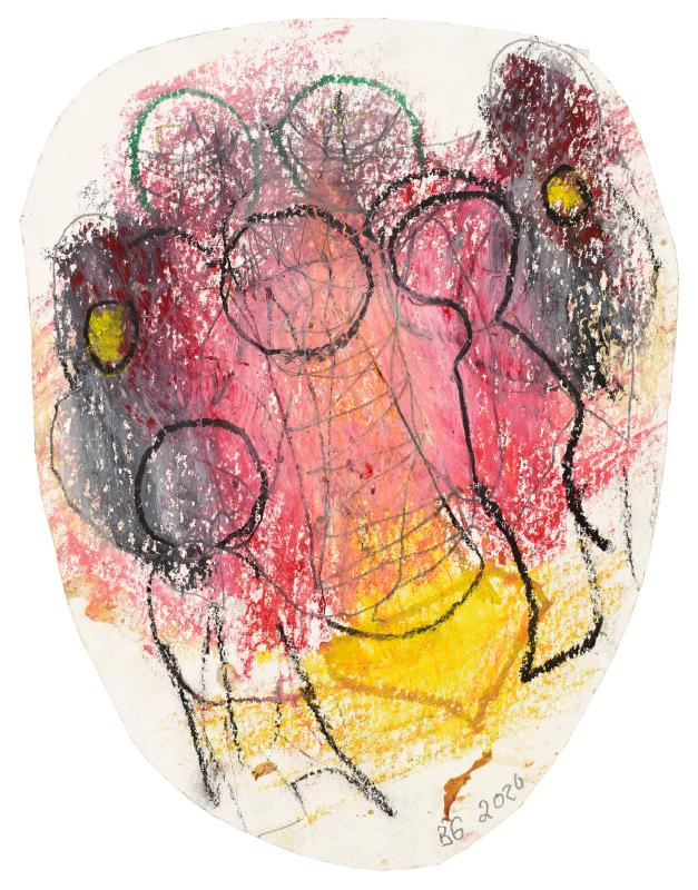 Zeichnung: Personen schemenhaft, Hintergrund Gelb, Rot, Braun